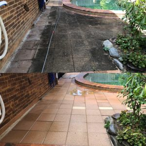 Cairns pressure cleaning patios (before and after)
